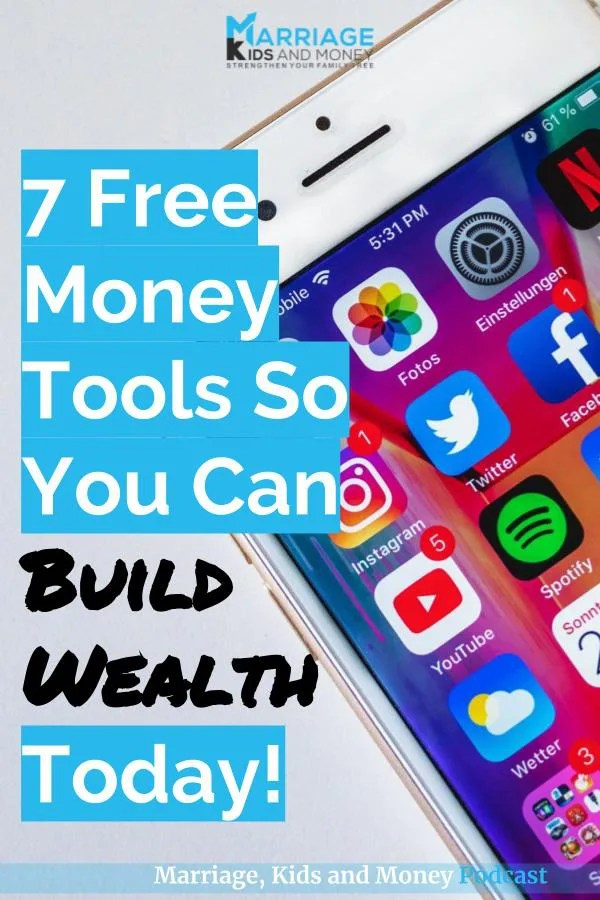 Phone with some of the 7 free money apps on the home screen