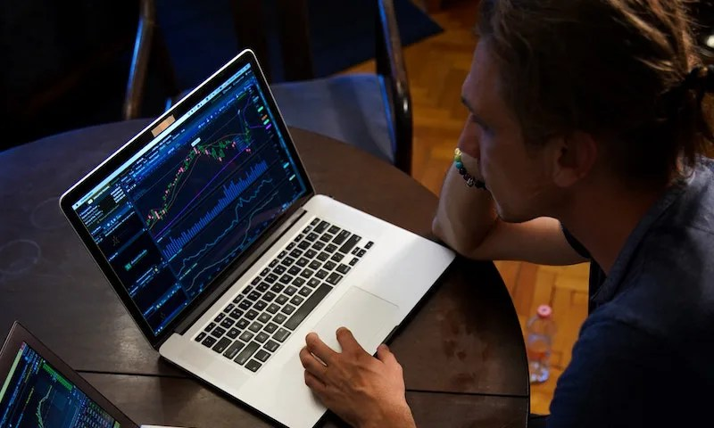 Stock market on laptop
