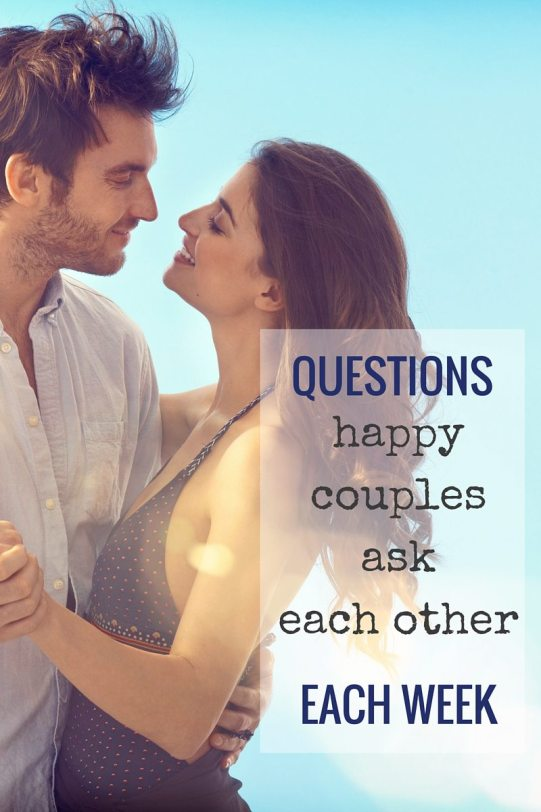 Questions happy couples ask each other each week. Do you think you will need more closeness or more alone time over the next couple of days? How do you feel about our sex life lately? What are the main stressors currently in your life? Click through for more about conducting weekly marrige check ins:)