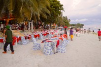 Setting up Dinner at Alona Beach
