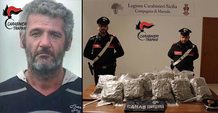 Nella serata di giovedì 29 novembre, i Carabinieri della Compagnia di Marsala, hanno tratto in arresto per detenzione ai fini di spaccio di sostanze stupefacenti, Giovanni Lanzetta,46enne marsalese, rinvenendo nell'autovettura a lui in uso ben 11 kg di marijuana.