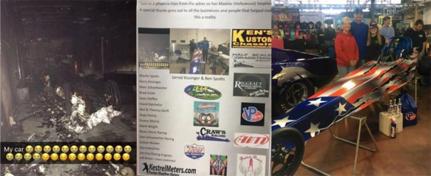Maddie Stephen's junior dragster that was heavily damaged in a tragic fire