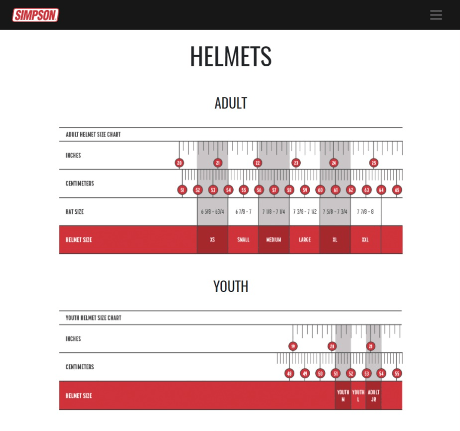 Simpson Helmet Sizing Chart