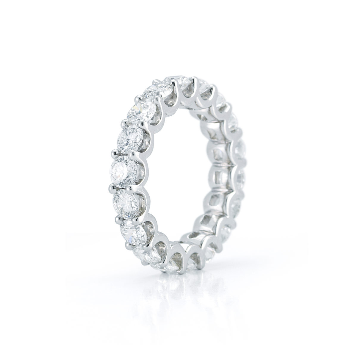 Round Diamond U Prong Set Eternity Wedding Band