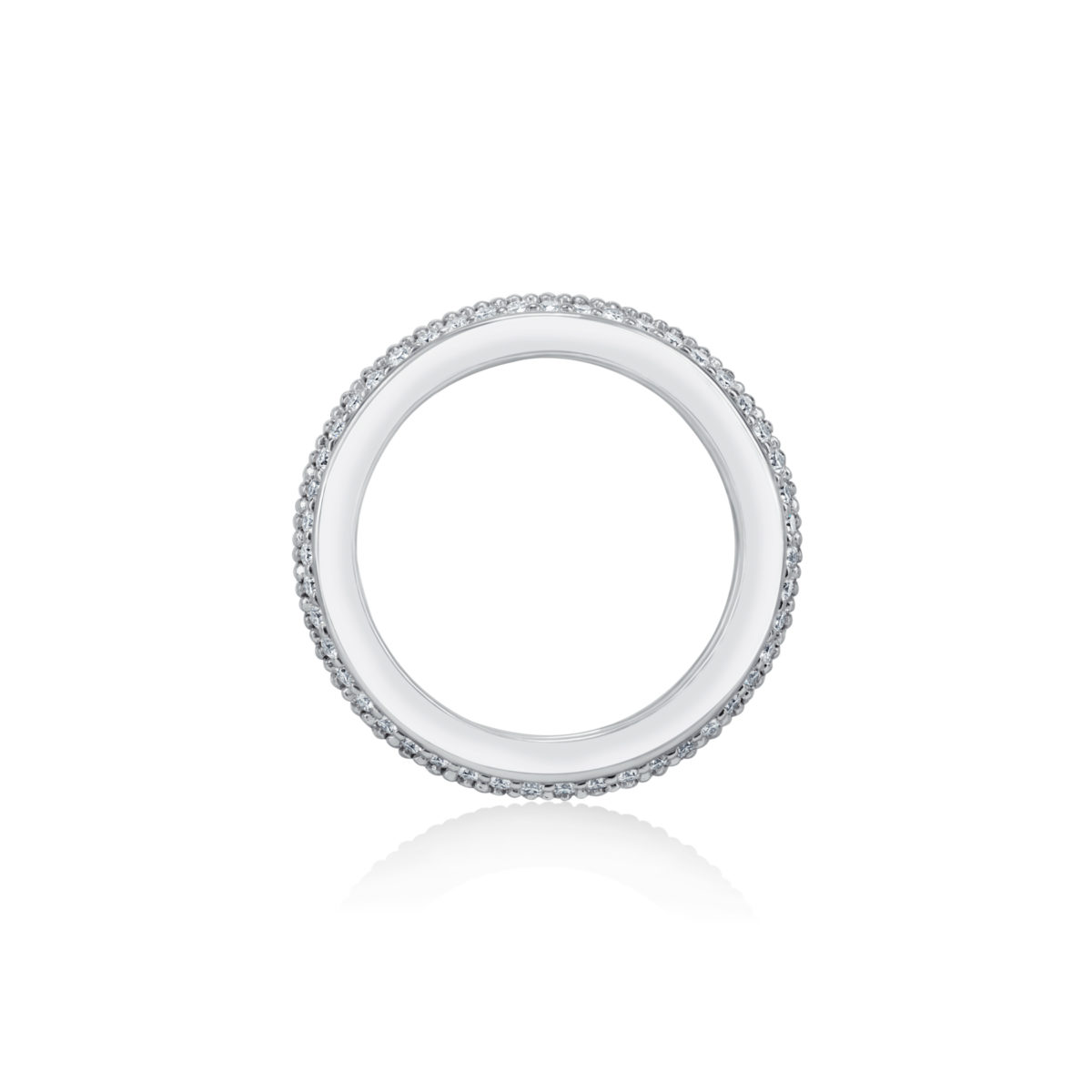 Round Diamond Three Row Pave Eternity Set Wedding Band