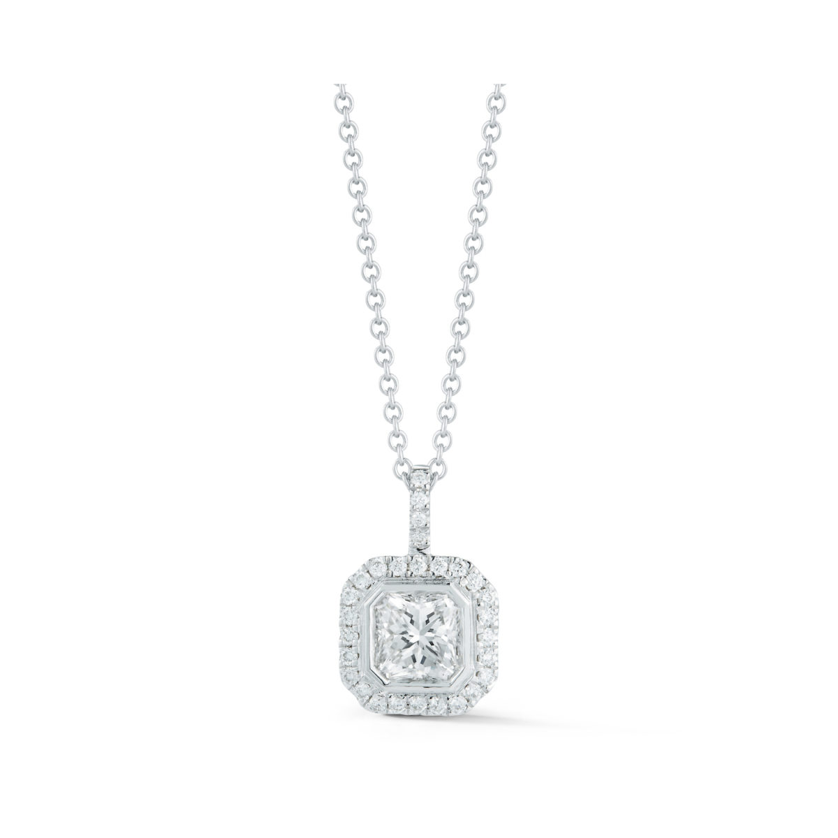 0 95 Carat Radiant Cut Diamond Halo Pendant Marshall