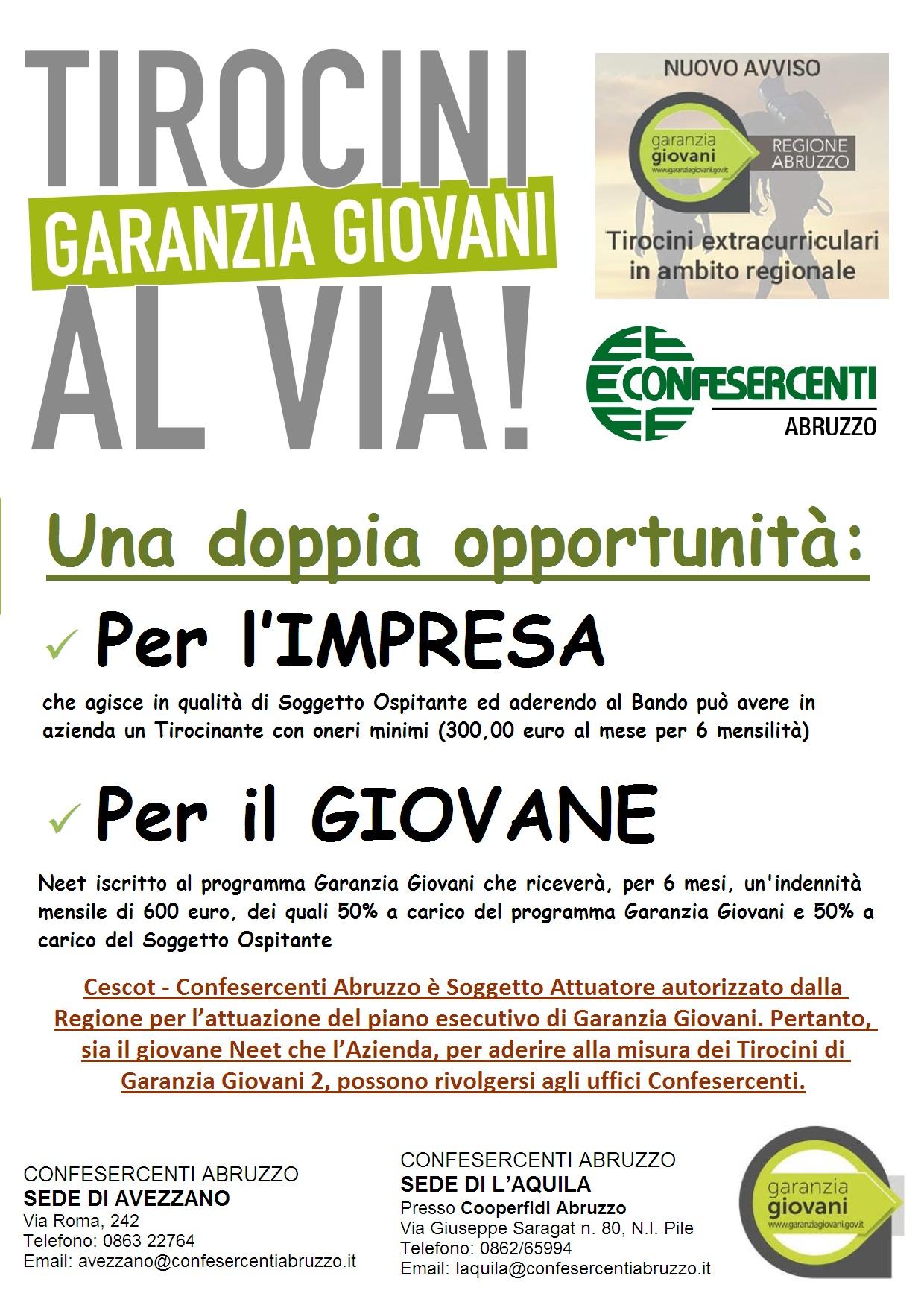 Locandina Garanzia Giovani Tirocini Sett.2019