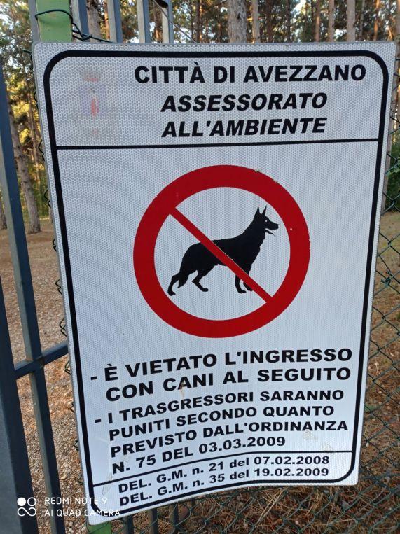 vietato ingresso con cani al seguito