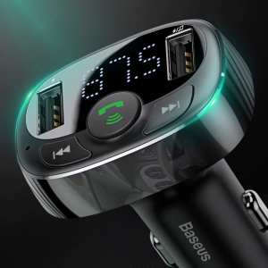 Dual USB Car Phone Charger with FM Transmitter