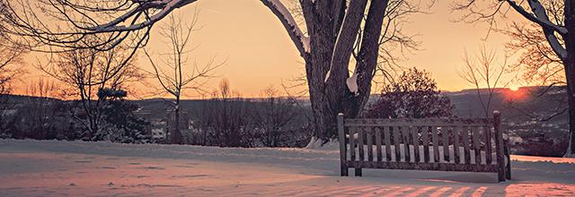 zachód słońca zdjęcia ławka park zima śnieg