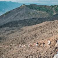 Živý had táhnoucí se k vrcholu sopky Pacaya, Guatemala (Mart Eslem)