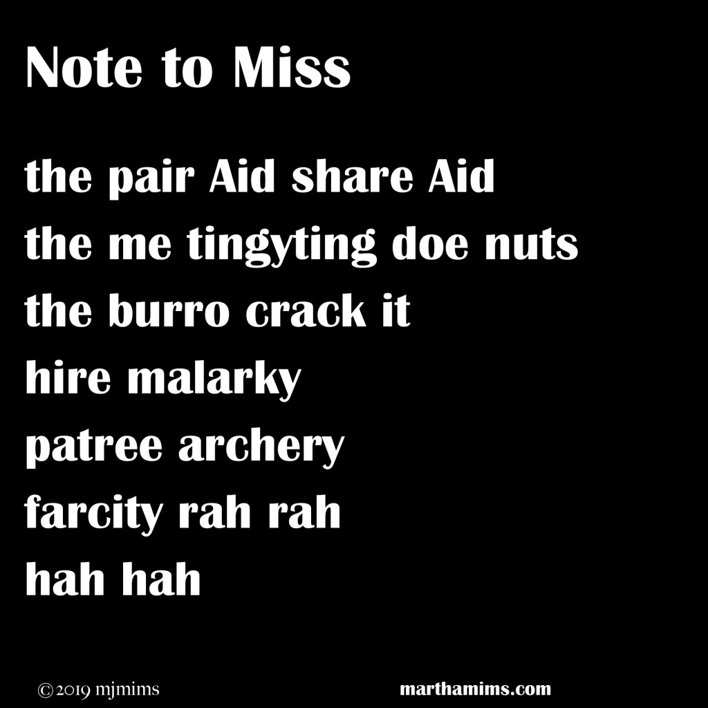 the pair Aid share Aid the me tingyting doe nuts the burro crack it  hire malarky patree archery farcity rah rah hah hah