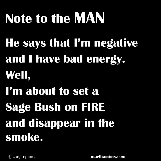 He says that I'm negative and I have bad energy. Well,  I'm about to set a  Sage Bush on FIRE and disappear in the smoke.