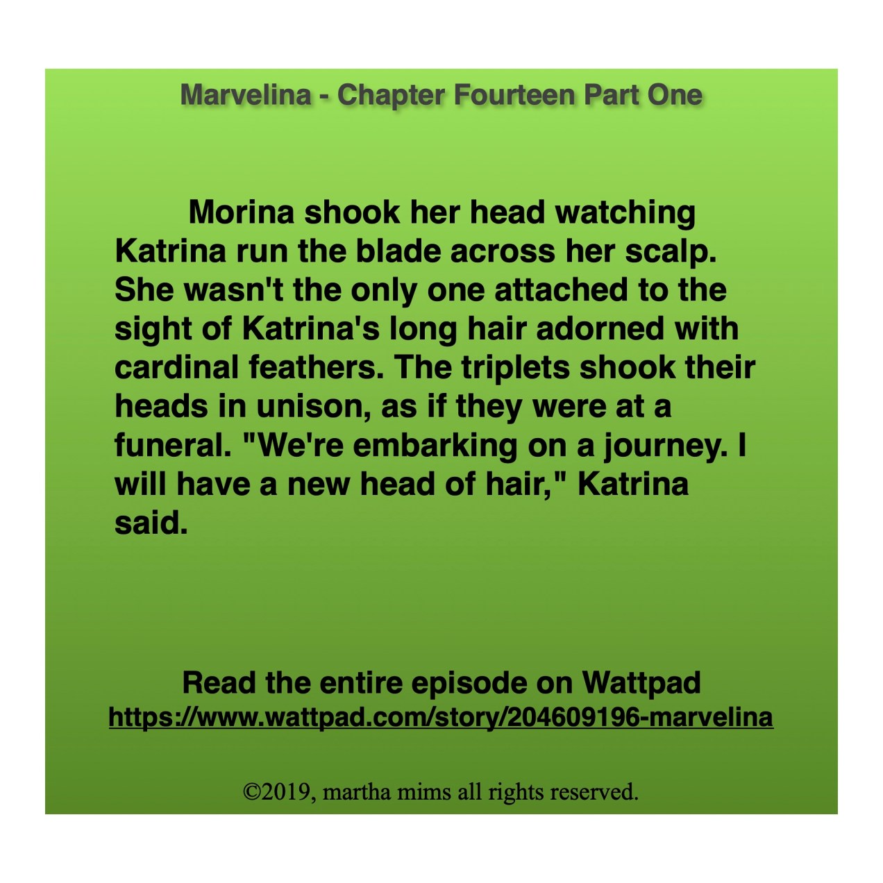 """Morina shook her head watching Katrina run the blade across her scalp. She wasn't the only one attached to the sight of Katrina's long hair adorned with cardinal feathers. The triplets shook their heads in unison, as if they were at a funeral. """"We're embarking on a journey. I will have a new head of hair,"""" Katrina said."""
