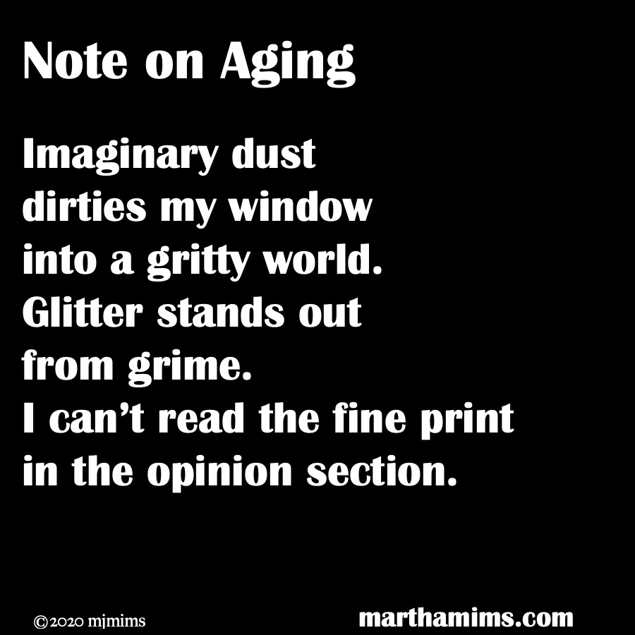 Imaginary dust  dirties my window into a gritty world. Glitter stands out  from grime. I can't read the fine print in the opinion section.