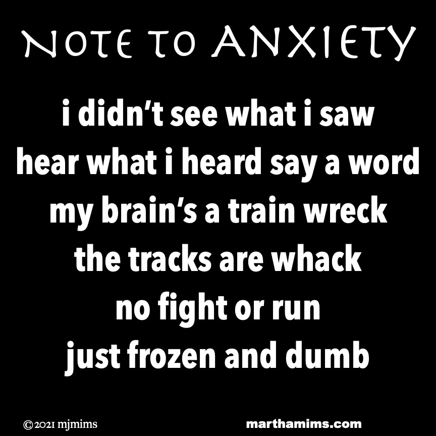 Note to Anxiety  i didn't see what i saw hear what i heard say a word my brain's a train wreck the tracks are whack no fight or run just frozen and dumb
