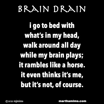 Brain Drain  i go to bed with what's in my head, walk around all day while my brain plays; it rambles like a horse. it even thinks it's me, but it's not, of course.