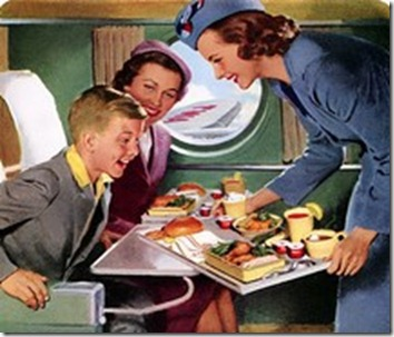 Travel Advertising,Vintage 1950s,ad,advertisment,avion,azafata,comida,flight,food,illustration,stewardess,twa,vintage,vuelo