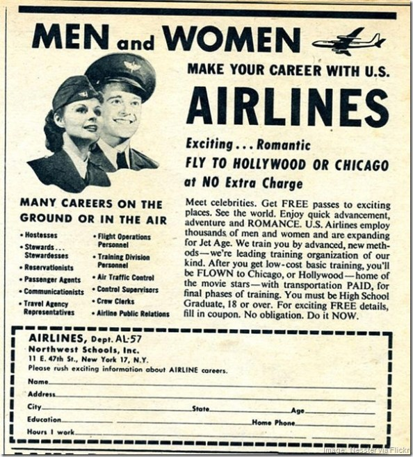 Vintage U.S. Airlines recruitment advertising