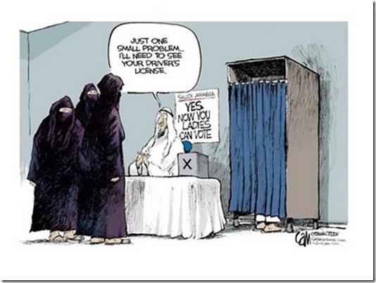 Saudi Women driving and voting cartoon