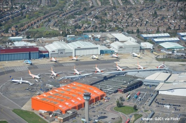 Luton airport from the air