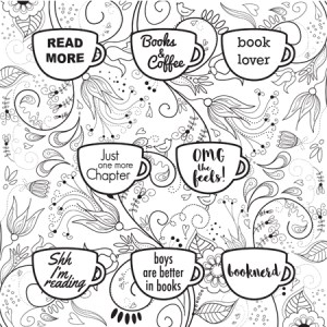 Bookish: Adult Coloring Book by Martha Sweeney book lover mugs coloring page