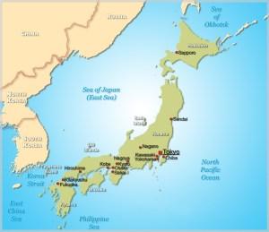 Mappa Giappone - Storia delle Arti Marziali Giapponesi