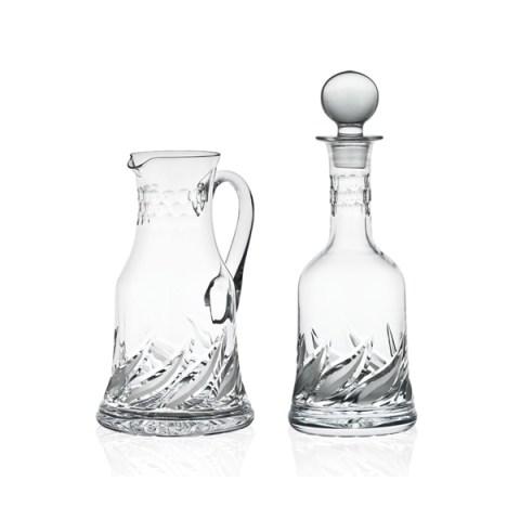 Brocca e Bottiglia dal Design Moderno in Cristallo con Incisione realizzata a mano Tulipano