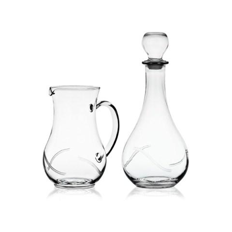 Brocca e Bottiglia dal Design Moderno con Incisione realizzata a mano Nola