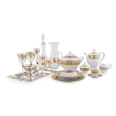 Completo Piatti in Porcellana Bicchieri in Cristallo e Vassoi con Decoro in Oro Royal
