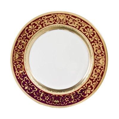 Piatto singolo modello Classico in porcellana con decoro Oro e Bordo Royal