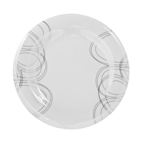 Piatto singolo moderno ed elegante in fine porcellana con decoro Filo Platino Dallas