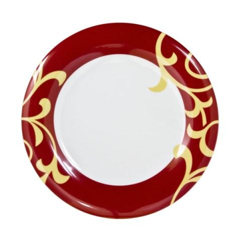 Piatto singolo in fine porcellana con Decoro moderno colore bordò Bahia