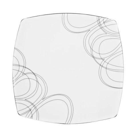 Piatto singolo dal design moderno e dalla forma quadrata con decoro filo platino Boston