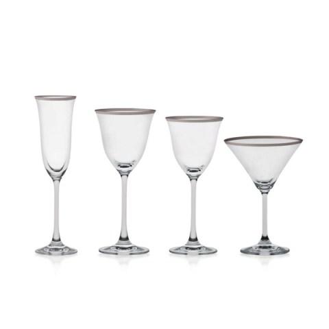 Servizio di Bicchieri dal Design Lineare con Decoro Filo Platino