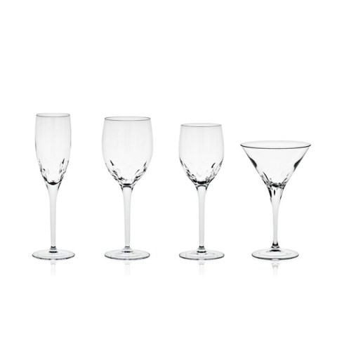 Servizio di Bicchieri dal Design Moderno in Cristallo con Incisione realizzata a mano Linea