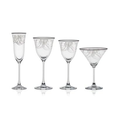 Servizio di Bicchieri a Calici Moderno con Pregiato Decoro Platino Dallas