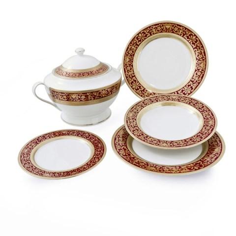 Completo Piatti modello Classico in porcellana con decoro Oro e Bordo Royal