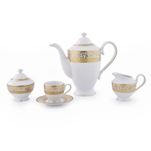 Servizio the caffè modello Classico in porcellana con decoro in Oro Royal