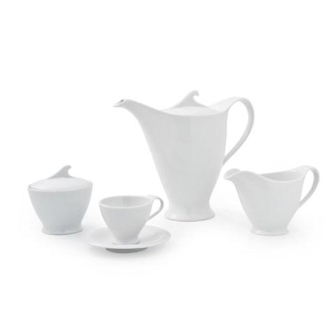 Servizio the caffè Moderno dal design lineare in porcellana bianca White