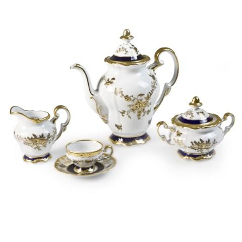 Servizio caffè in fine porcellana tedesca decoro mano oro e cobalto Anna Amalia