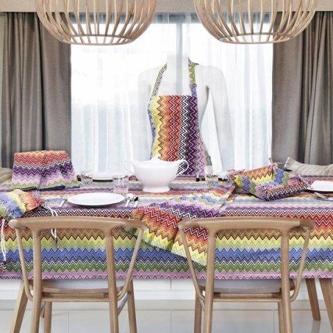 Multicolor Completo di Tovaglie stampate a fantasia moderno in tessuto puro cotone