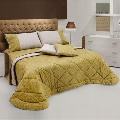Coordinato letto bicolore Quadri Sabbia e Oro - Baltimora