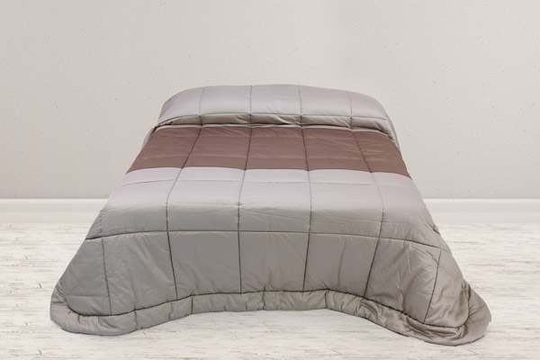trapunta matrimoniale tessuto raso puro cotone sabbia inserto piano letto tessuto raso tortora