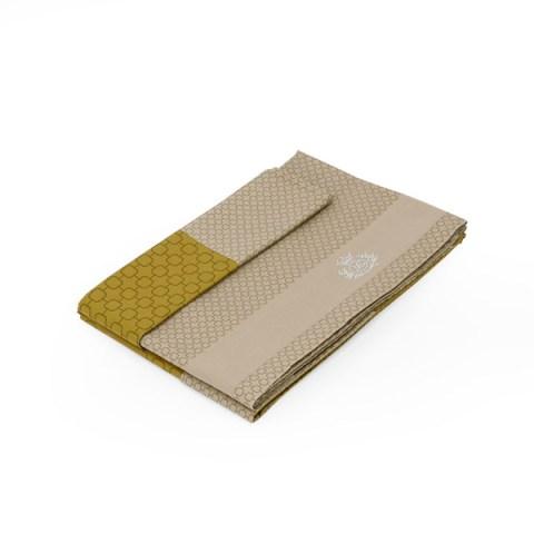 Coppia lenzuola bicolore Quadri Sabbia e Oro - Baltimora