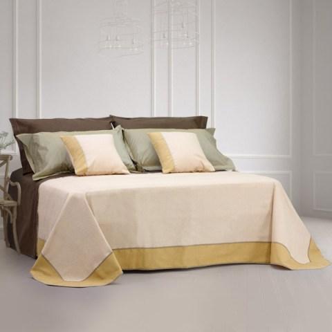 coordinato letto a 2 piazze gilda beige con balza oro martica