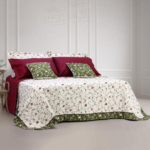 coordinato letto a 2 piazze tessuto materassè fantasia floreale edera martica
