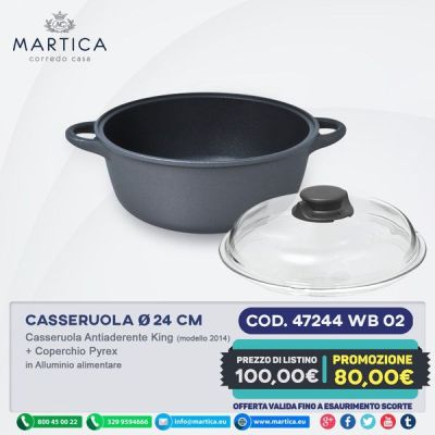 Casseruola antiaderente prodotta in italia 24 cm con coperchio pyrex