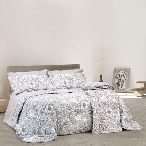 Completo letto con disegno Maiolica Tortora in puro cotone Granada