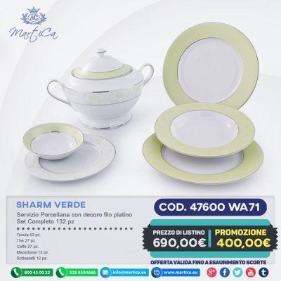 Completo piatti verde con filo platino e fiori - Sharm